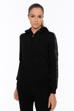 Hoodie with branded tape and sequins