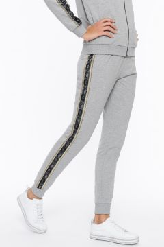 Melange trousers with lateral lace and lurex bands