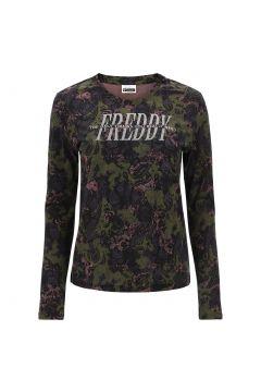T-shirt manica lunga con stampa camo-paisley e logo glitter
