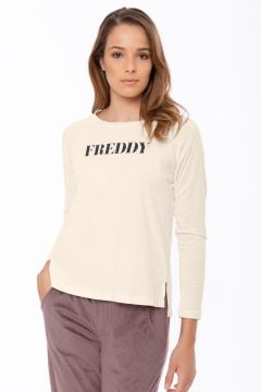 Long-sleeve t-shirt with a FREDDY logo trimmed in studs
