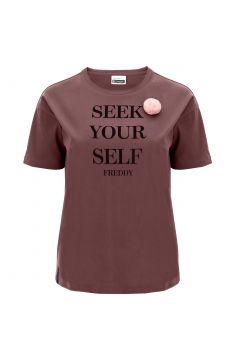 T-Shirt mit kurzem Arm und Aufdruck sowie Pompon auf der Vorderseite