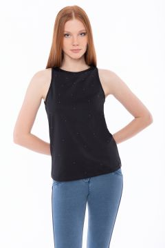 Stretch tank top with micro studs