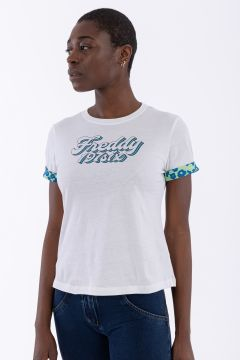Tee-shirt manches courtes avec inserts style années 70