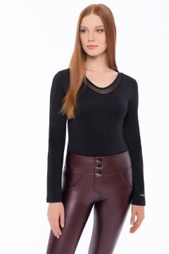 Long-sleeve black bodysuit with a sheer tulle insert