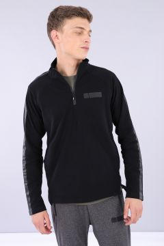 Half-zip cotton sweatshirt with straight sleeves and tone-on-tone bands