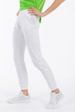 Hose aus leichtem Sweatshirtstoff mit Paillettenstreifen