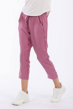 Ankle-length comfort-fit cupro trousers