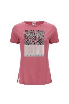 T-shirt con stampa a fantasia leopardata