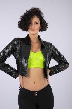 Black cropped crocodile-effect faux patent leather jacket
