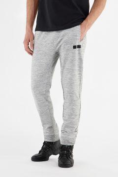 Melange grey stretch joggers with black details
