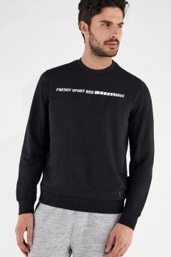 Crew neck stretch sweatshirt with a FREDDY SPORT BOX print