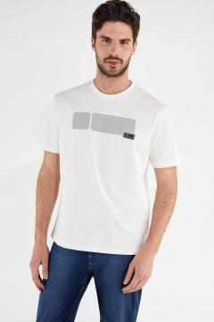 T-shirt bianca in jersey con grande No Logo grigio
