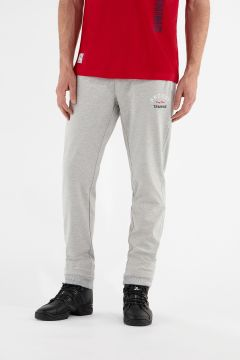 Melange grey stretch joggers with cuffed ankles