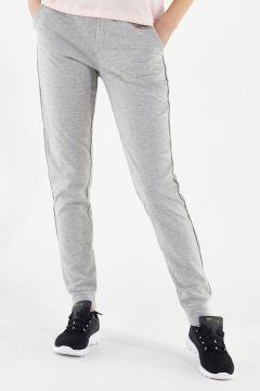 Hose in Melangegrau aus Modal-Sweatshirtstoff mit Schmuckverzierungen