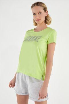 Leichtes T-Shirt mit Schlitzen und Logo aus Pailletten und Glitzer