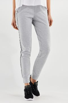 Melange grey stretch trousers with striped jacquard ribbons