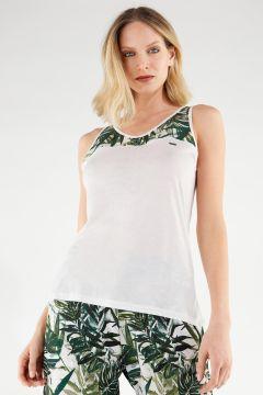 Ärmelloses Shirt aus Pflanzenfaser mit Passe im Tropicalmuster