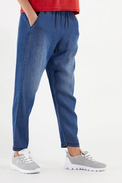 Tapered trousers in denim-effect plant-based fabric