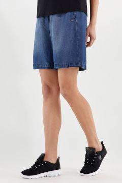 Wide-leg Bermuda shorts in denim-effect plant-based fabric