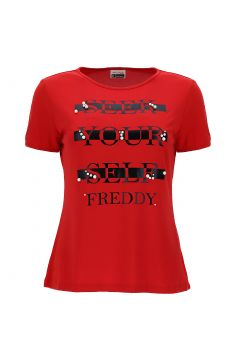 SEEK YOUR SELF t-shirt decorated with pearls
