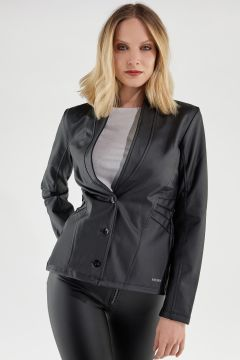 Faux leather jacket with a shawl lapel