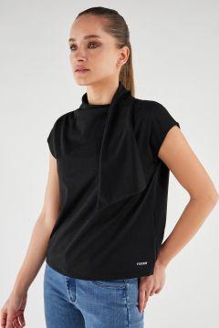 T-shirt en jersey lurex avec col écharpe