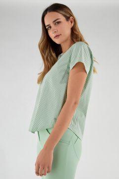 Stretch-T-Shirt mit pastellfarbenen Streifenverzierungen