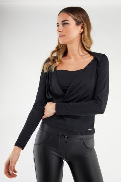 Deep-V wrap-front shirt with a bandeau top