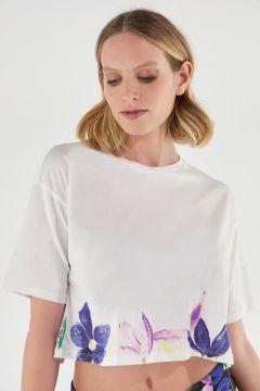 T-shirt court confortable avec décoration florale