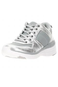 Chaussures de sport pour femme en tissu technique avec semelle compensée argentée