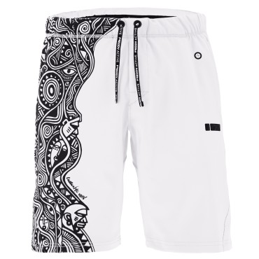 PRO Pants Bermuda shorts featuring a tribal print by Laolu Senbanjo