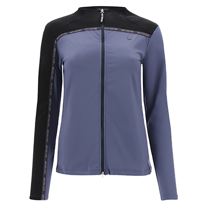 Two-tone yoga shirt with a zip