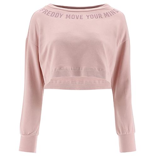 Übergroßes Crop-Top-Sweatshirt mit Bateau-Ausschnitt