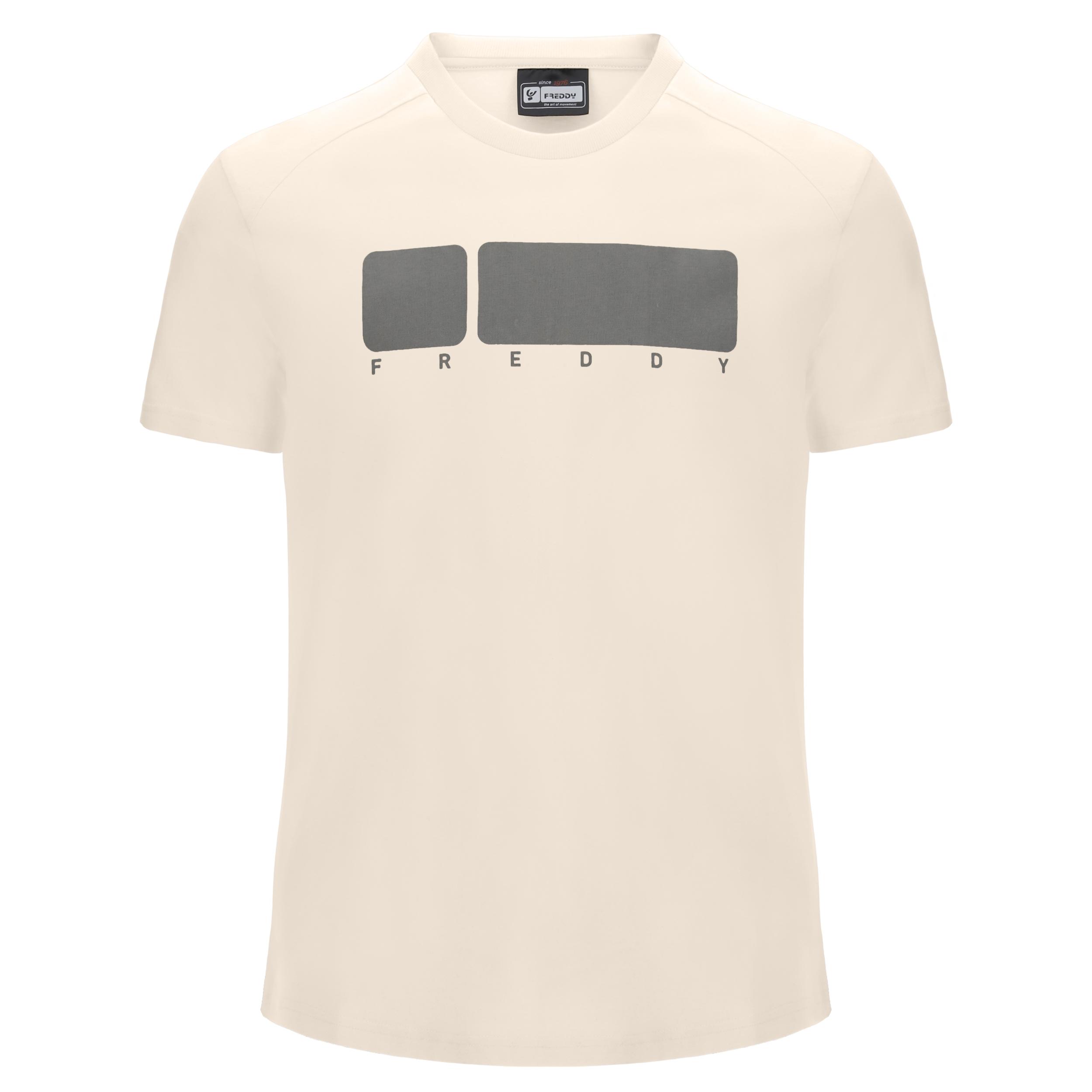 T-shirt a girocollo chiara con maxi No Logo grigio