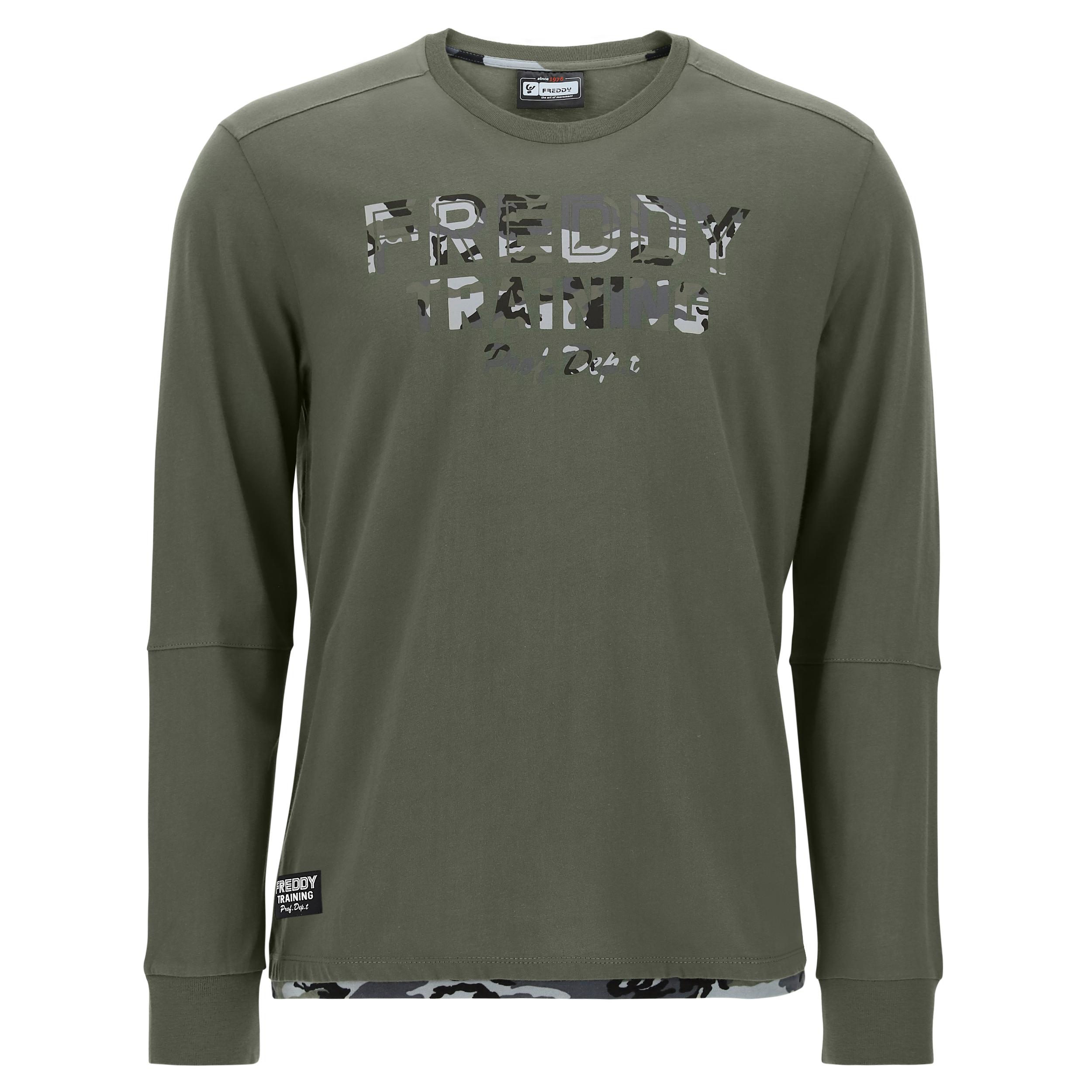 T-shirt manica lunga con decorazioni a fantasia camouflage