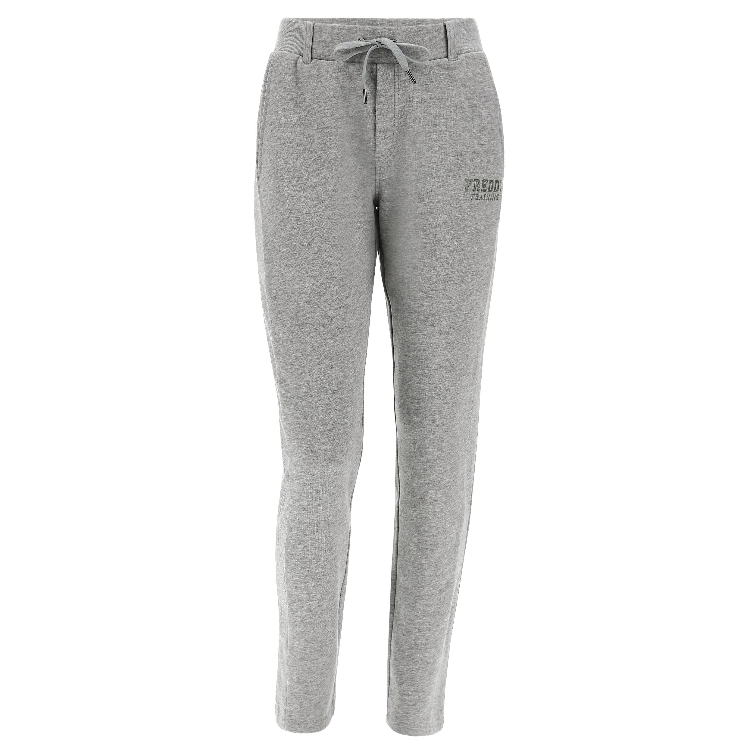 Pantaloni mélange fondo dritto bande laterali e vita lurex