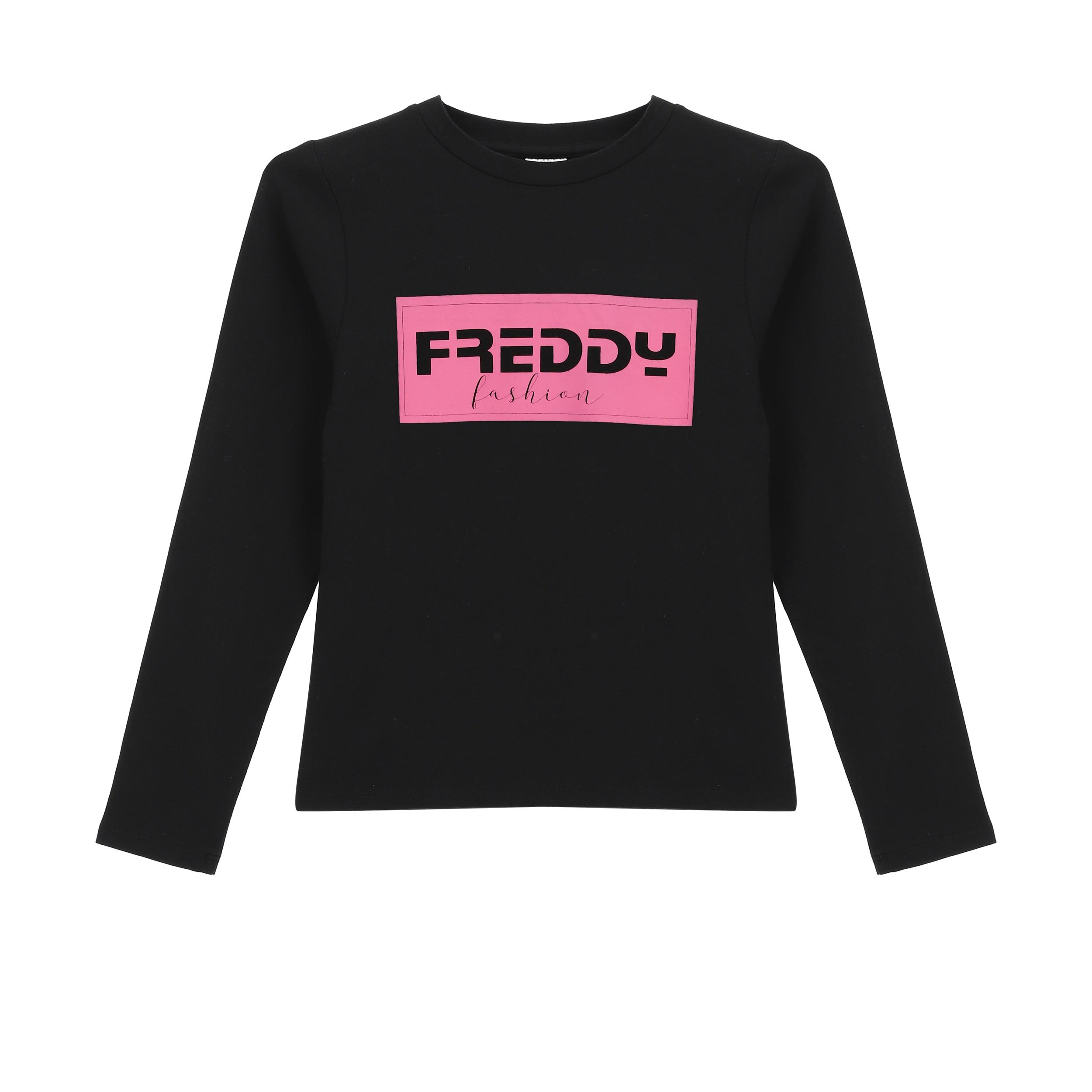 T-shirt manica lunga con stampa fucsia Freddy Fashion