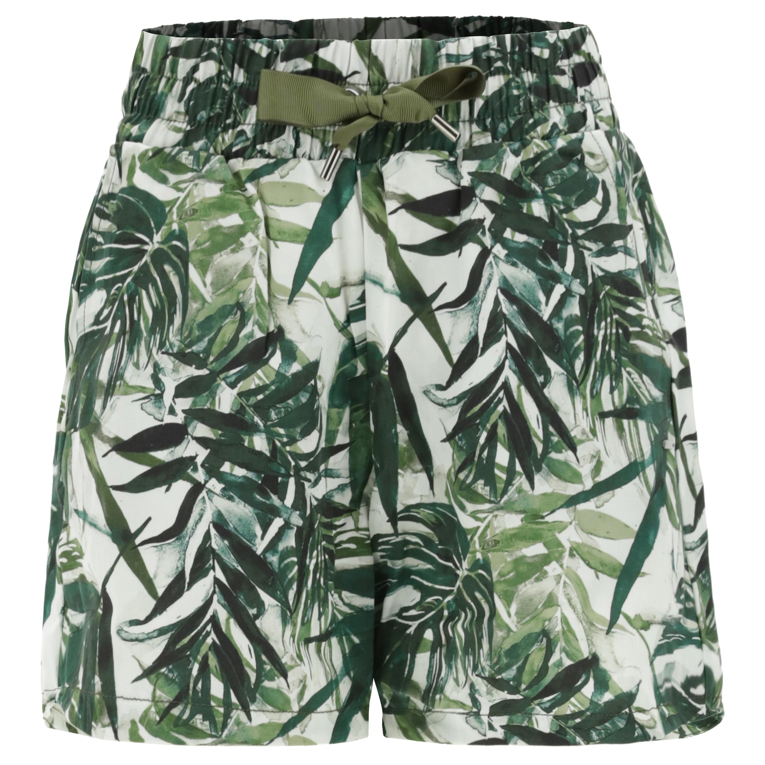 Shorts in fibra vegetale a fantasia foliage tropical
