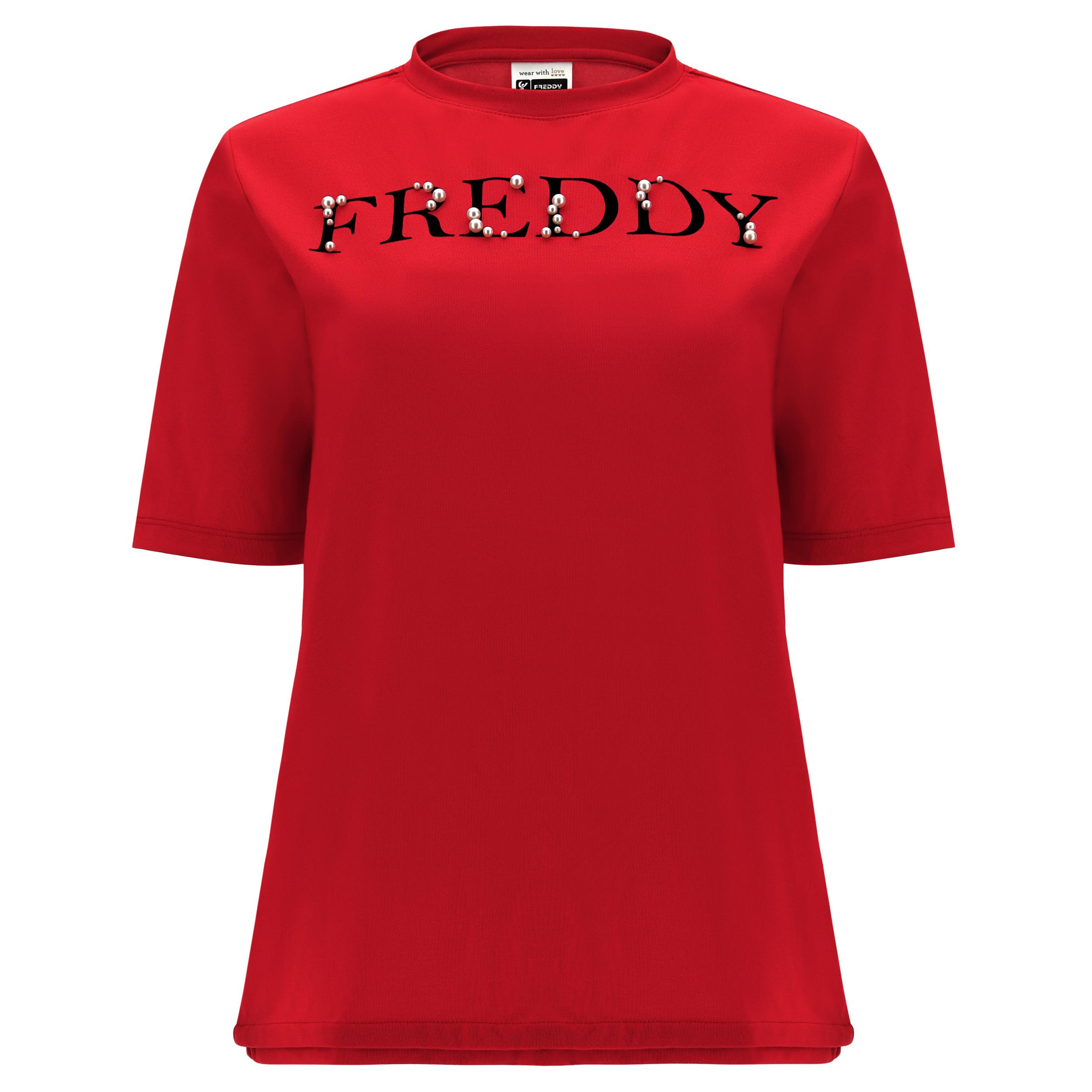 T-shirt comfort con stampa FREDDY decorata con perle