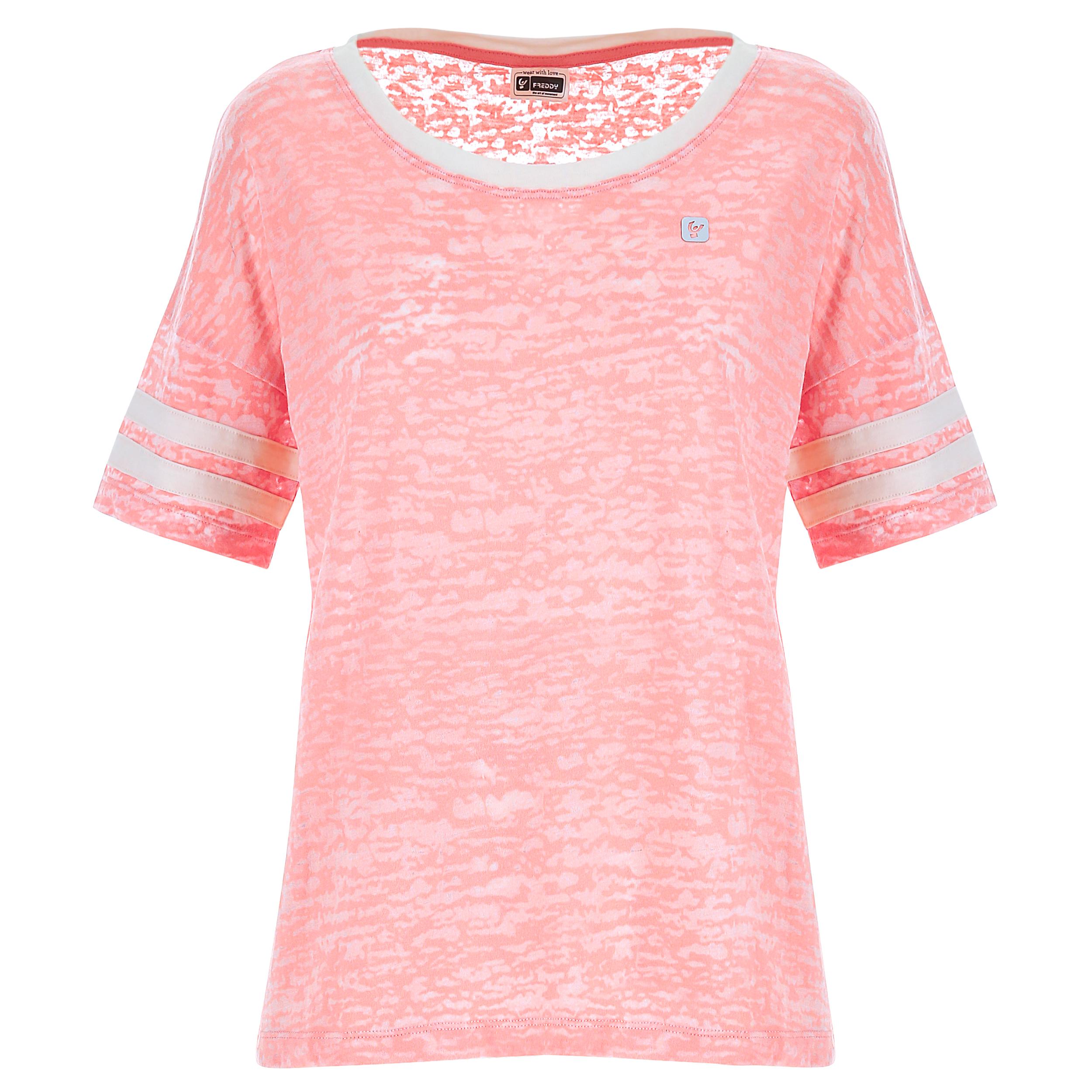 T-shirt da donna in cotone devoré con bande a contrasto